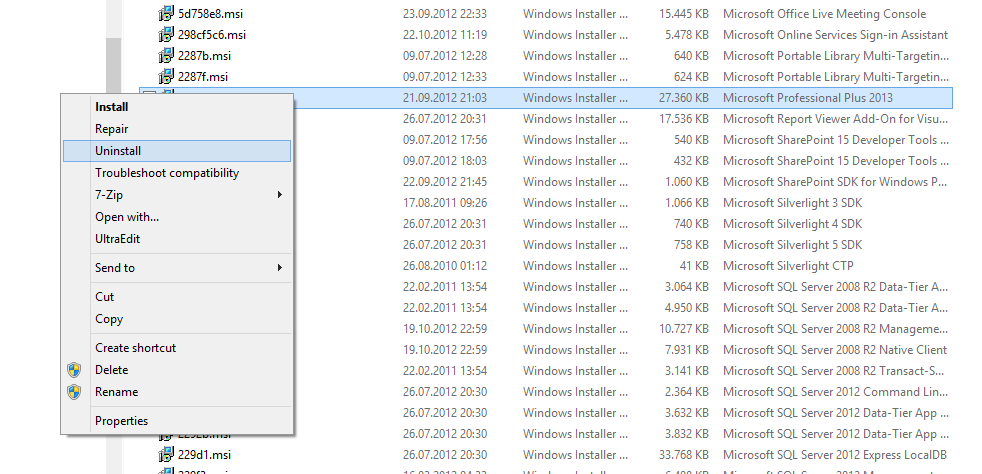 """Uninstall previous versions"""" problem when installing"""