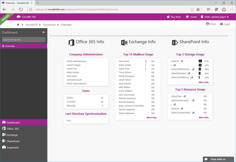 First Look: Acceleratio CloudKit 365 – Office 365 reporting, documentation and management service